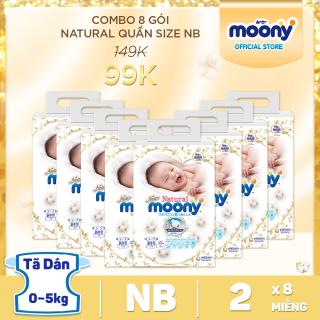Combo 8 gói tã dán Moony Natural cao cấp size Newborn (2 miếng gói) - Giá dùng thử 99K thumbnail