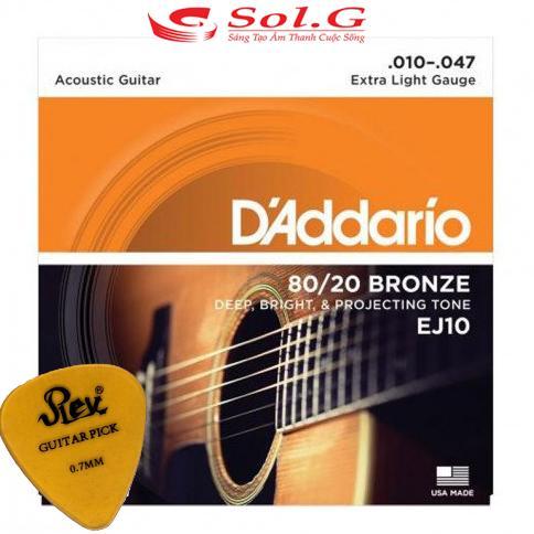 Dây đàn guitar acoustic Daddario cỡ 10 EJ10 tặng pick gảy