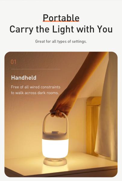 Đèn ngủ, đèn di động cầm tay Baseus Moon-white Series Knob Stepless Dimming Portable Lamp (DGYB-02) dung lượng pin 1800mAh - 3.5W có nút vặn điều chỉnh độ sáng từ 3000K-6000K