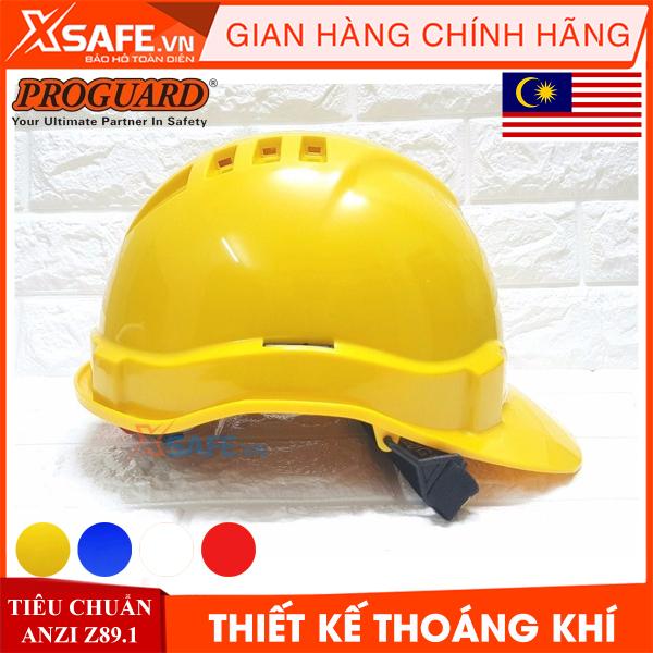 Mũ bảo hộ Proguard HG2-WHG3RS nhựa ABS siêu cứng-có lỗ thoáng khí/4 màu, nút vặn kèm hệ khung treo - nón bảo hộ lao động chính hãng [XSAFE] [XTOOLS]