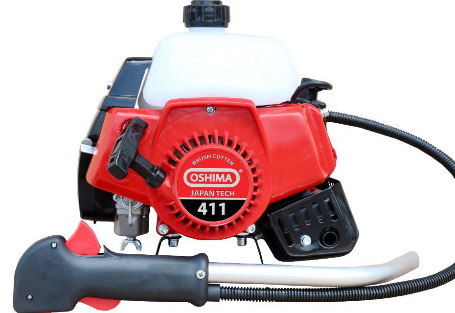 Máy cắt cỏ mini cầm tay Oshima 411 bạc, C/S 1.45 KW, Dung tích 40.2 cc, Bình xăng con Ruxing nắp chống bụi, Cần dày 2mm