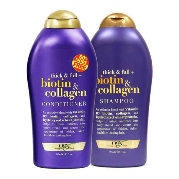Dầu xả ngăn rụng và kích thích mọc tóc Biotin Thick and Full Collagen 577ml Biotin hay còn gọi Vitamin B7 mang đến hiệu quả dưỡng tóc từ sâu bên trong, tăng cường sự chắc khỏe của sợi tóc, giảm tóc gãy rụng, kích thích mọc tóc