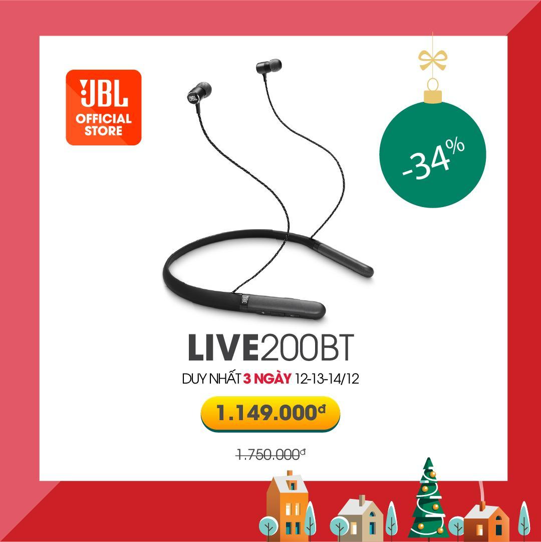 Offer Khuyến Mại Tai Nghe JBL Bluetooth Nhét Tai - Pin Khủng - JBL LIVE200BT Âm Bass Mạnh Mẽ, Phù Hợp Với Nhạc EDM, Electronic Sôi động.- Hàng Chính Hãng