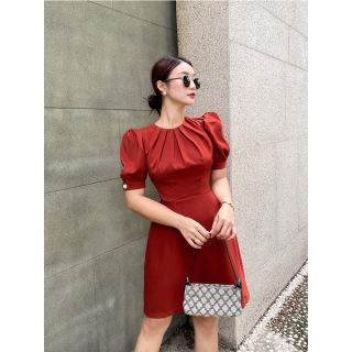 RECHIC Đầm Winary màu cam cổ tròn tay phồng ngắn sang trọng thanh lịch xinh xắn công sở dạo phố thumbnail