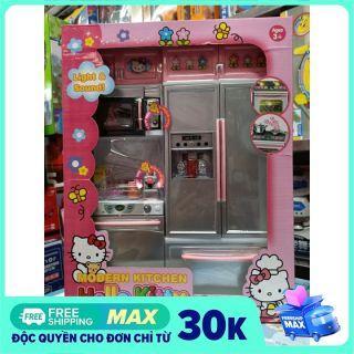 26215HK Modern Kitchen Hello Kitty - Đồ chơi tủ bếp 2 ngăn có tủ lạnh, lò nướng, lắp pin có đèn và nhạc thumbnail