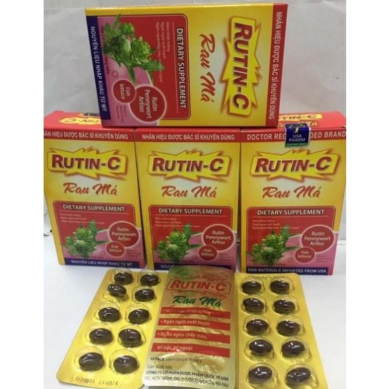 Viên uống Rutin C Rau Má giảm viêm nhiệt miệng giảm táo bón tiêu trĩ nhuận tràng thanh nhiệt cơ thể - Hộp 30 viên