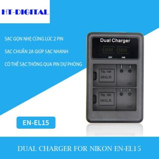 Sạc đôi pin EN-EL15 cho Nikon D7000 D7100 D800 D800E D600 D610 D810 D7200 V1 D500 thumbnail