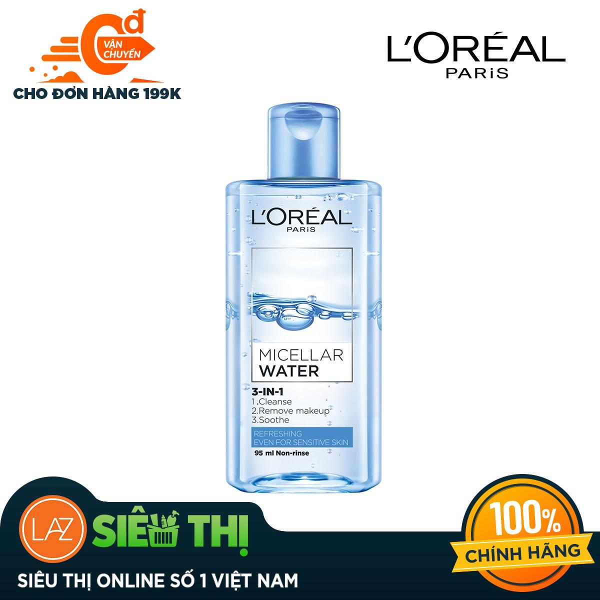 [Siêu thị Lazada] - Nước Tẩy Trang LOreal Paris 3-in-1 Micellar Water (95ml) - Phù hợp với da dầu và hỗn hợp