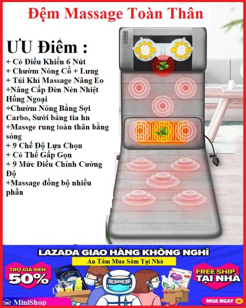 Nệm massage toàn thân, Đệm massage hồng ngoại thư giãn đầu, cổ, vai, lưng, chân ( Bảo hành 9 tháng - Sale off 49% )