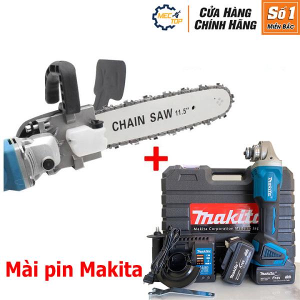 Combo Máy mài pin Makita 118V + Lưỡi cưa xích - Chuyển đổi máy mài thành máy cưa - Cưa, cắt, đánh bóng, chàm nhám - Không chổi than - Ruột đồng -2 Pin chuẩn 10 Cell