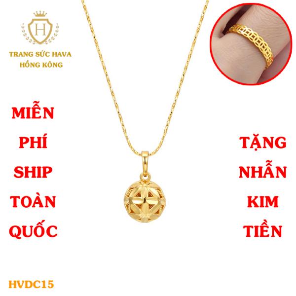 Dây Chuyền Nữ, Vòng Cổ Mặt Quả Cầu Cách Điệu, Titan Xi Mạ Vàng Non 24k Thật Cao Cấp (Không Bị Xỉn Đen) - Trang Sức Hava Hong Kong