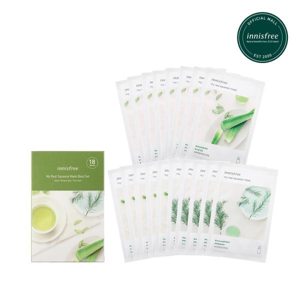 [Mua 13 tặng 05] Bộ mặt nạ giúp cấp nước, làm dịu và dưỡng ẩm Innisfree My Real Squeeze Mask Set- Aloe, Green Tea, Tree (18 Miếng) tốt nhất