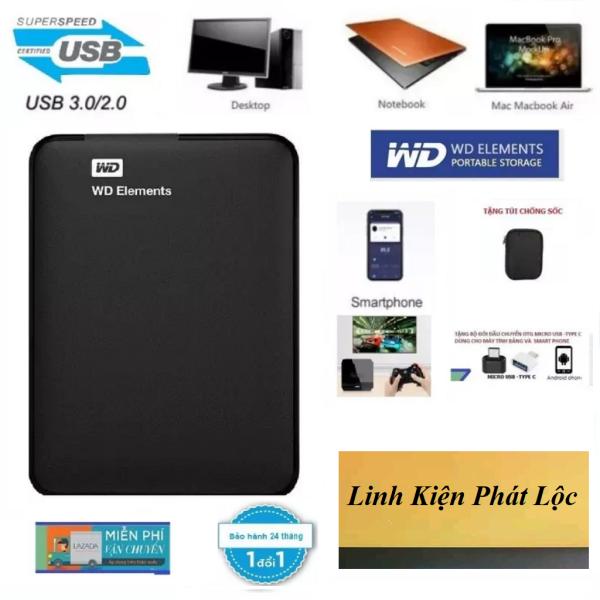 Bảng giá Ổ Cứng Di Động WD Elements 1TB,500GB,320GB BH 24 Tháng-Tặng túi chống sốc,đầu chuyển OTG Micro USB,Type-C cho Smart Phone Phong Vũ