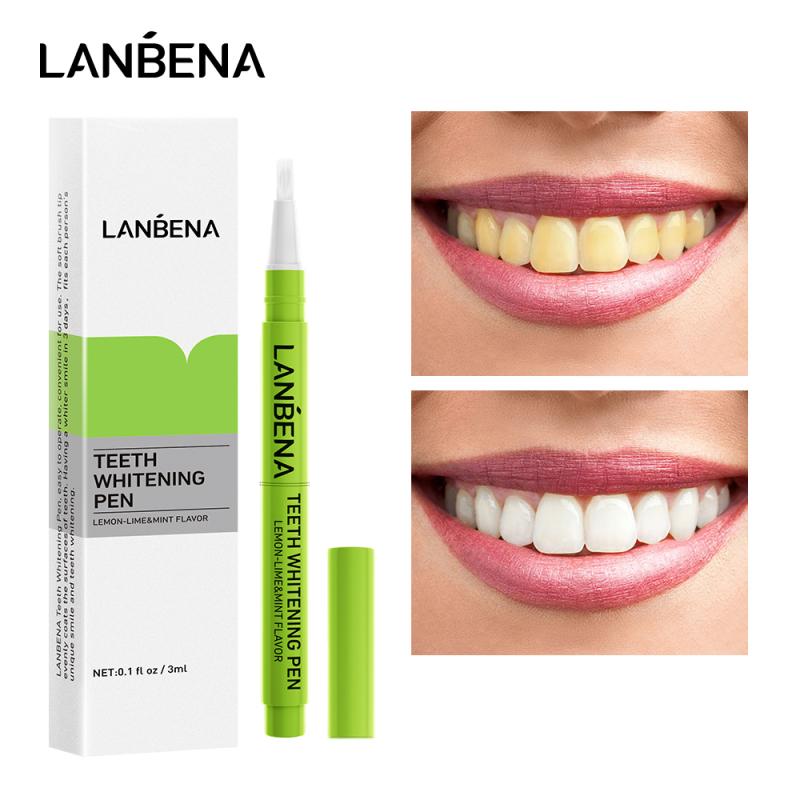LANBENA Bút làm trắng răng Gel vệ sinh răng chanh chanh Hiệu quả Loại bỏ vết bẩn Làm sạch Tẩy trắng An toàn Dụng cụ làm trắng Chăm sóc răng miệng giá rẻ