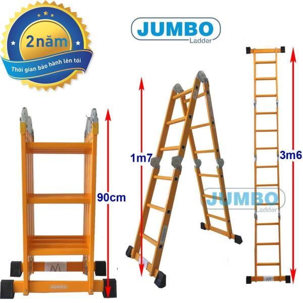 Thang nhôm gấp 4 đoạn Jumbo B303 - Tải trọng 300kg, Độ dày nhôm 1.5 - 2mm, Bảo hành 2 năm