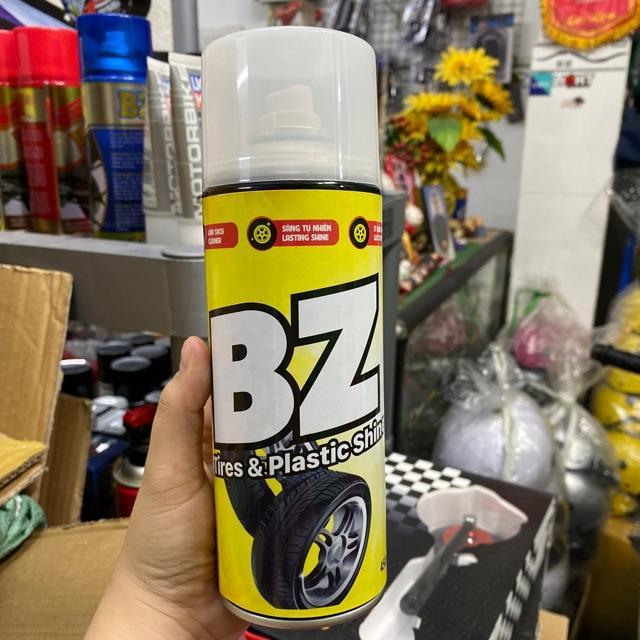 Chai Xịt BZ Tires & Plastic Shine - Vệ Sinh + Làm Bóng Nhựa, Lốp Xe Đang Có Ưu Đãi
