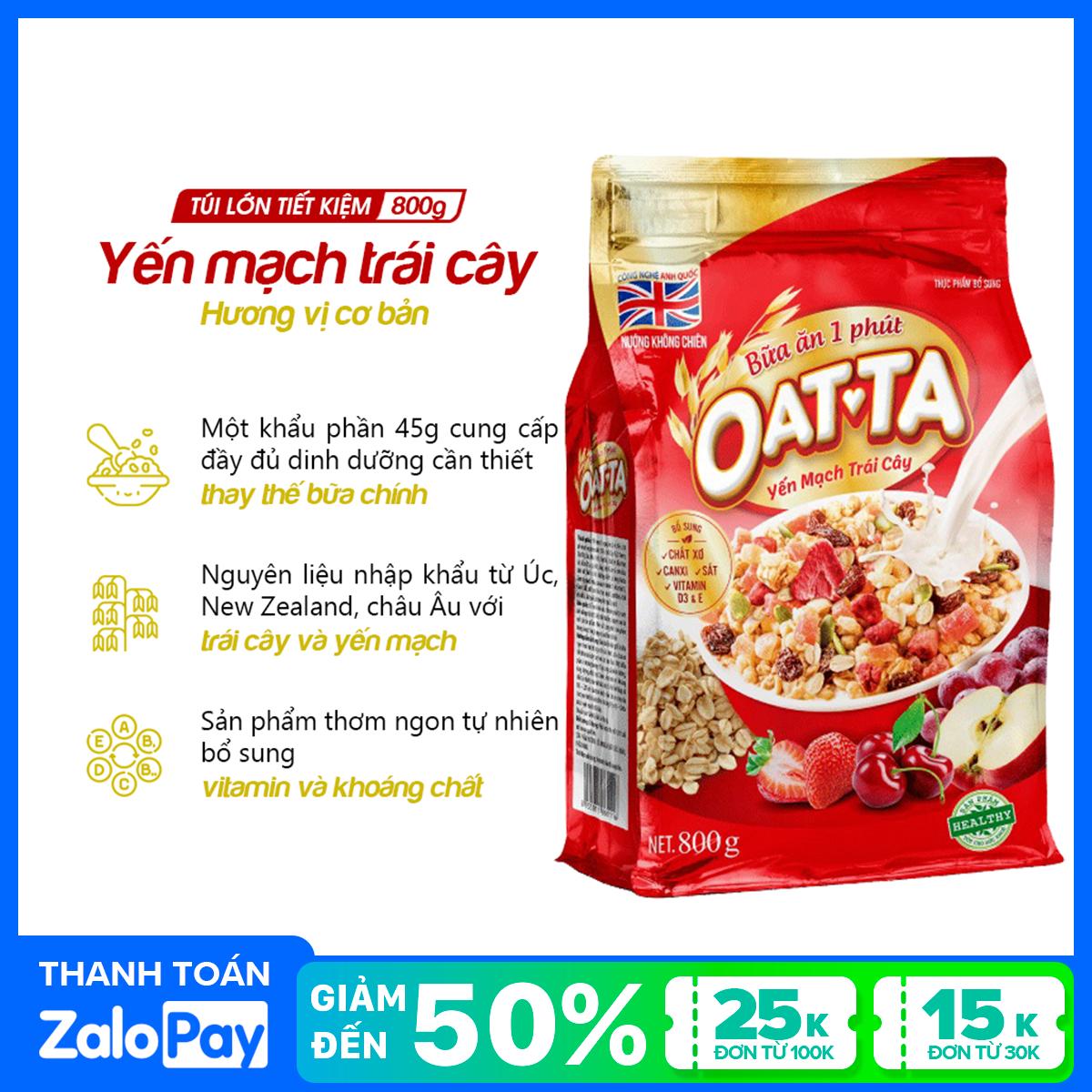 Yến mạch trái cây Oatta túi 800g (tặng bát sứ giữ nhiệt cao cấp Oatta)