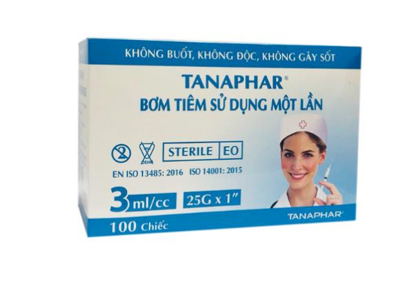 Bơm tiêm TANAPHAR 3ml/cc Hộp 100 cái cao cấp