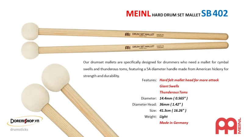 MEINL HARD DRUM SET MALLET SB402