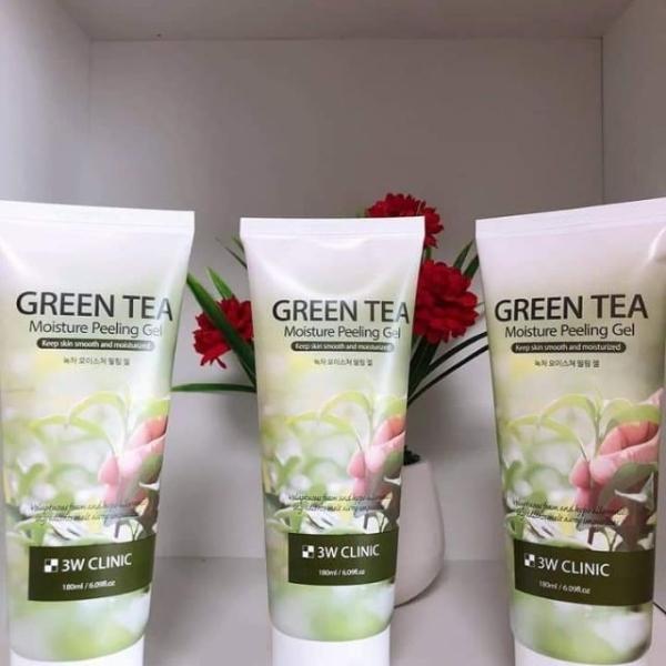 GEL TẨY TẾ BÀO CHẾT TRÀ XANH 3W CLINIC GREEN TEA MOISTURE PEELING GEL 180ml