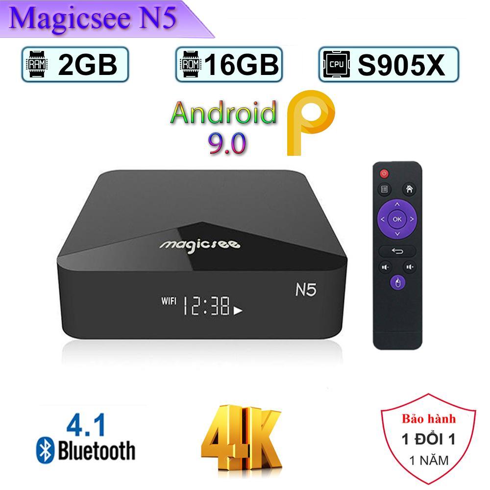 Android Tivi Box Magicsee N5  - Ram 2GB, Rom 16GB, Single Wifi - Android 9.0 - Có Bản Rom ATV