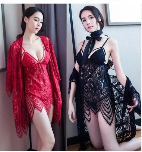 Nơi bán Siêu Đẹp - Sét Váy ngủ Ren Cao Cấp Siêu Đẹp1492 Tặng kèm qần chíp xinh ( Váy + Áo choàng )