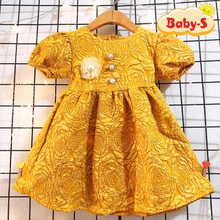 Đầm xòe gấm hoa cao cấp tay phồng cho bé 8-23kg chất vải xịn cực sang chảnh cho bé lung linh nổi bật Baby-S SD081 thumbnail