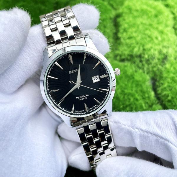 Đồng hồ nam Seik Kim Trôi màu đen, màu bạc, dây thép đặc sang trọng ( Tặng Pin dự phòng + Hộp + Bảo Hành Trọn Đời + Được kiểm tra hàng lúc nhận hàng ) bán chạy