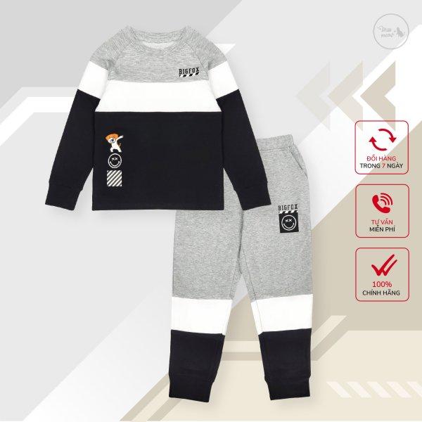 Nơi bán Bộ bé trai BIGFOX - MISS MEOW thu đông size đại, bộ dài tay cho bé phong cách Âu Mỹ phối 3 màu từ 10 - 38 kg