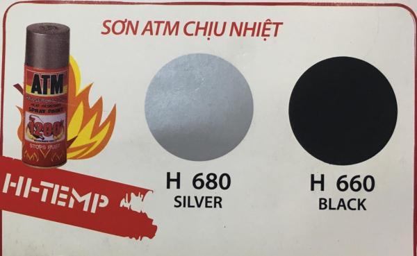 (màu đen hoặc màu bạc) Sơn xịt pô xe chịu nhiệt  ATM ( sơn phun) HI-TEMP H660 hoặc H680