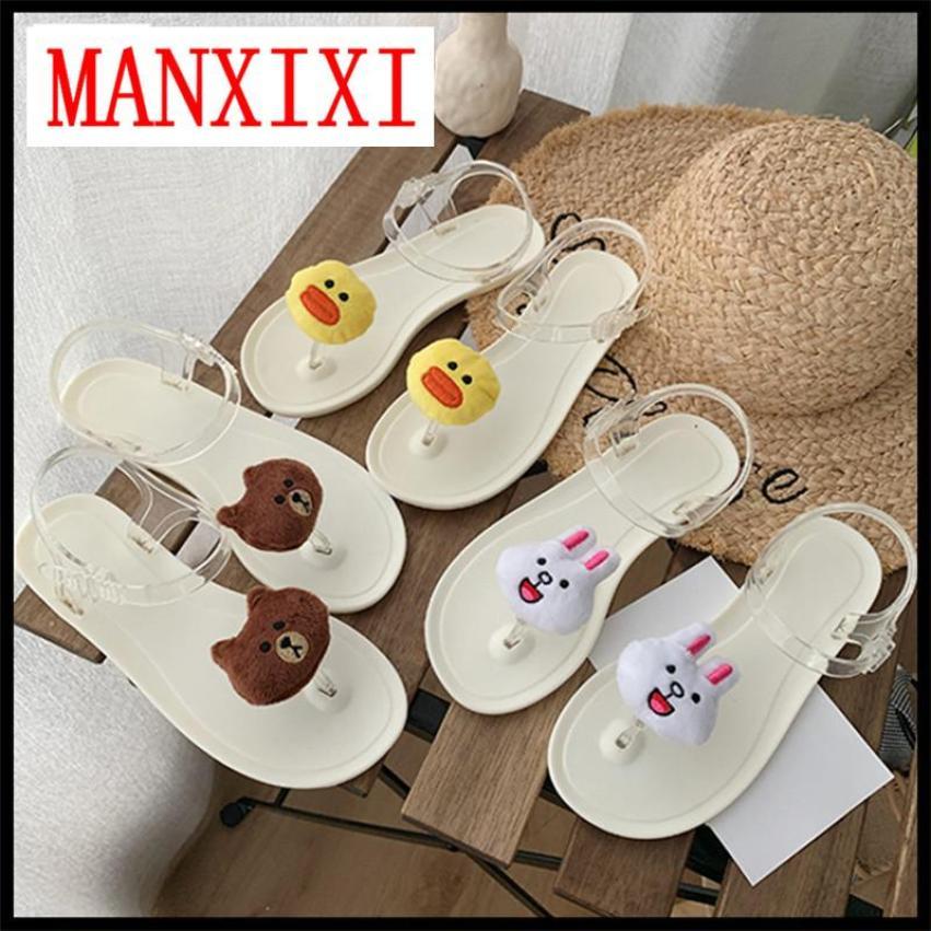 MANXIXI Thương Hiệu Thời Trang Jelly Xăng Đan Đế Bệt Gấu Đẹp Vịt Thỏ Khảm Giày Trắng Cho Nữ (Cỡ 35-40) giá rẻ