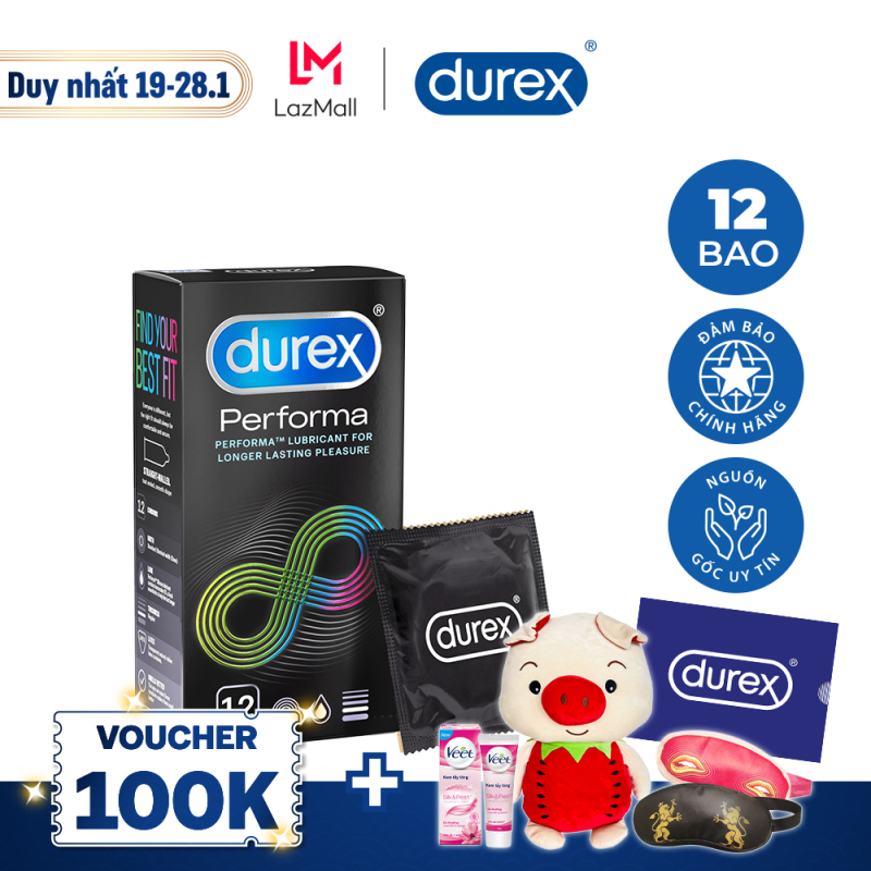 [VOUCHER GIẢM 60K]Bao cao su Durex Performa 12 bao (New)