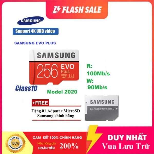 [New 2021] Thẻ nhớ MicroSDXC Class 10 Samsung Plus 256GB Box Anh U3 4K R100MB/s W90 MB/s New 2020 (Đỏ) + Kèm Adapter
