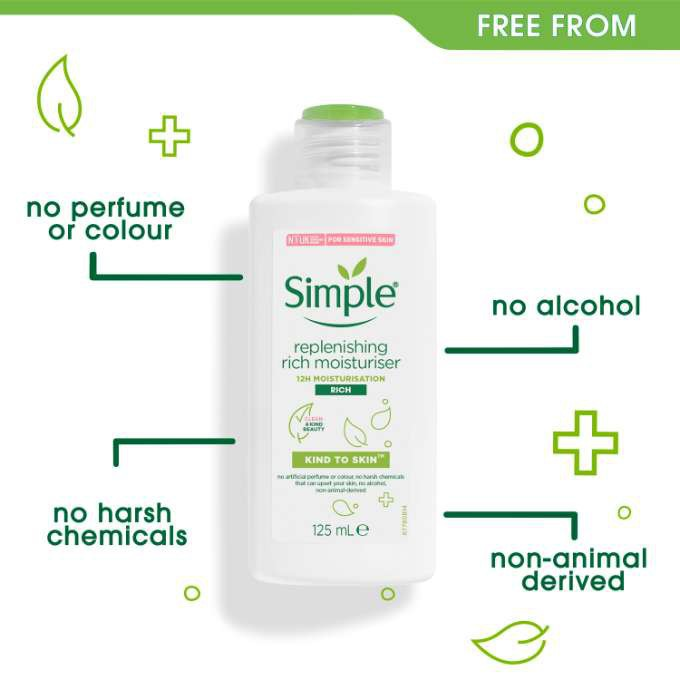 Kem Dưỡng Ẩm Cho Da Khô Simple Kind To Skin Replenishing Rich Moisturiser 125ml