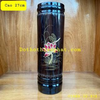 Ống nhang gỗ tràm bông vàng cao 27cm cẩn màu đen thumbnail