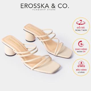 Dép nữ, Dép cao gót thời trang Erosska mũi vuông gót tròn phối dây quai mảnh kiểu dáng đơn giản cao 5cm EM038 (NU) thumbnail