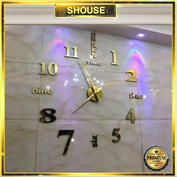 Nơi bán Đồng hồ treo tường loại dán tường 3D cỡ lớn trang trí chính hãng Shouse, kích thước 70cm-130cm