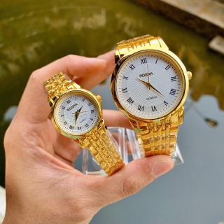 [Tặng Kèm Hộp Đựng Và Pin] Đồng hồ thời trang nam nữ Rosra C044 dây màu vàng cực đẹp thumbnail