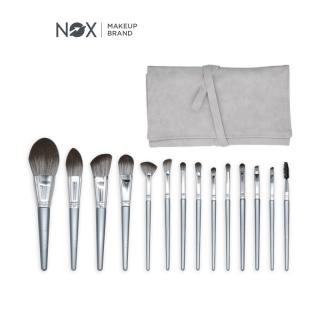 Bộ cọ trang điểm cho mắt và má gồm 10 cây kèm túi đựng có màu bạc, lông cọ mịn dễ tán Noxmall - INTL thumbnail