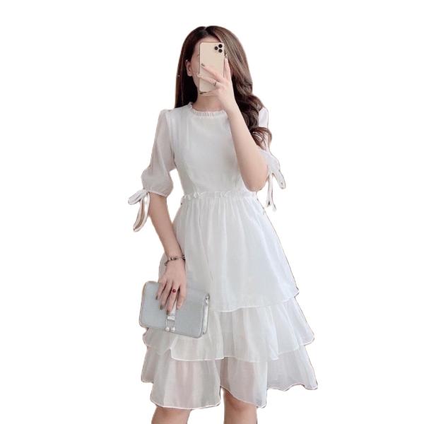 (Kèm ảnh thật + Video) Đầm dự tiệc trắng xòe voan 3 tầng hot trend Hàn Quốc, có size to
