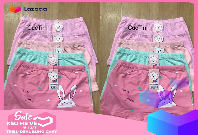 Quần đùi bé gai cotton 100%.in bup bê(combo 5 quần)JINLE Nhật Bản