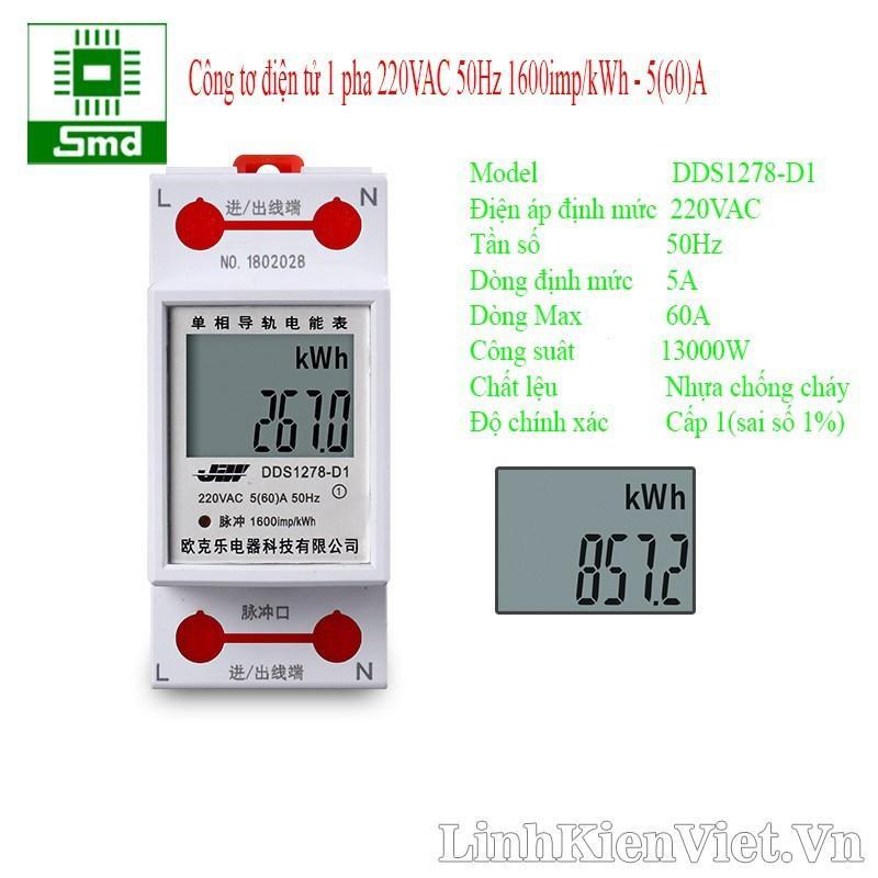 Công tơ điện tử, thiết bị đo công suất SAITON ABB 65A SHOP REVOLSTORE