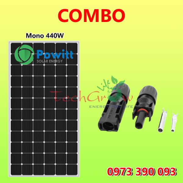 COMBO tấm pin năng lượng mặt trời Powitt Mono 440W + Jack nối MC4