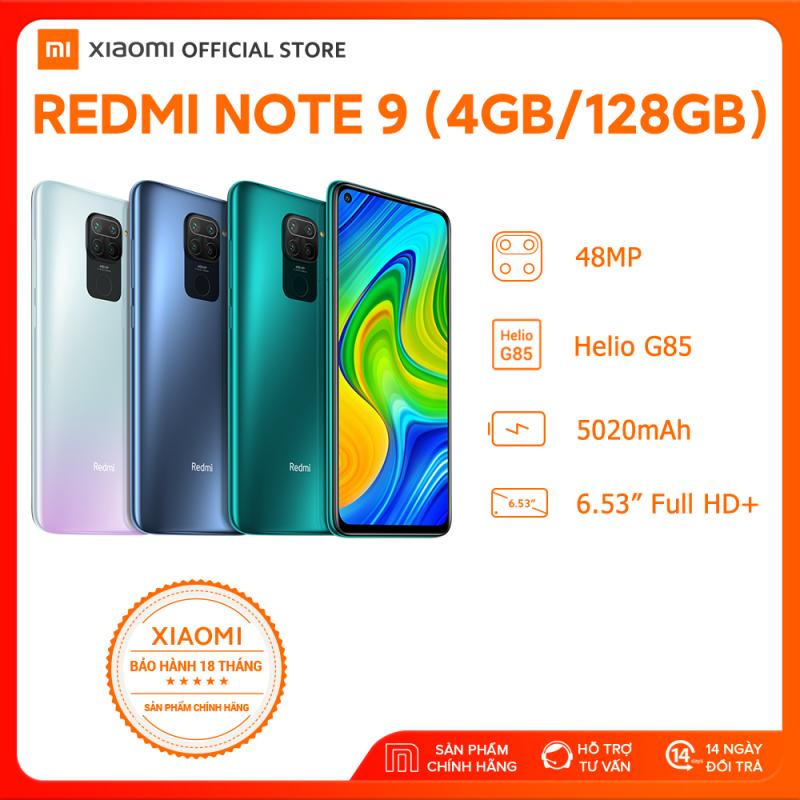 [PRE-ORDER - SĂN VOUCHER 300K] - [XIAOMI OFFICIAL] Điện thoại Xiaomi Redmi Note 9 4GB/128GB - Màn hình 6.53 FULL HD+, MediaTek Helio G85 8 nhân, Camera 48 MP, Camera trước 13MP góc siêu rộng, pin 5020 mAh sạc nhanh 18W - BH Chính hãng 18 tháng