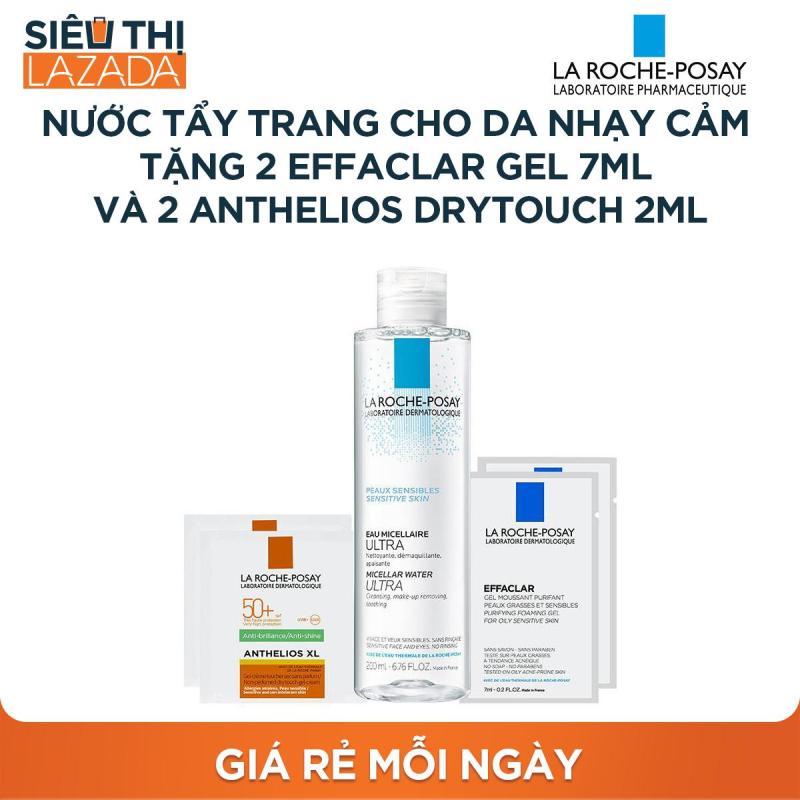 [Siêu thị Lazada] - Nước tẩy trang giàu khoáng làm sạch sâu cho da nhạy cảm La Roche Posay Micellar Water Ultra Sensitive Skin 200ML tặng 2x Effaclar Gel 7ML và 2x Anthelios Drytouch 2ML