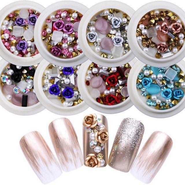 Hộp hạt đá hoa hồng  và ngọc trai giả xinh xắn trang trí móng tay 3D tốt nhất