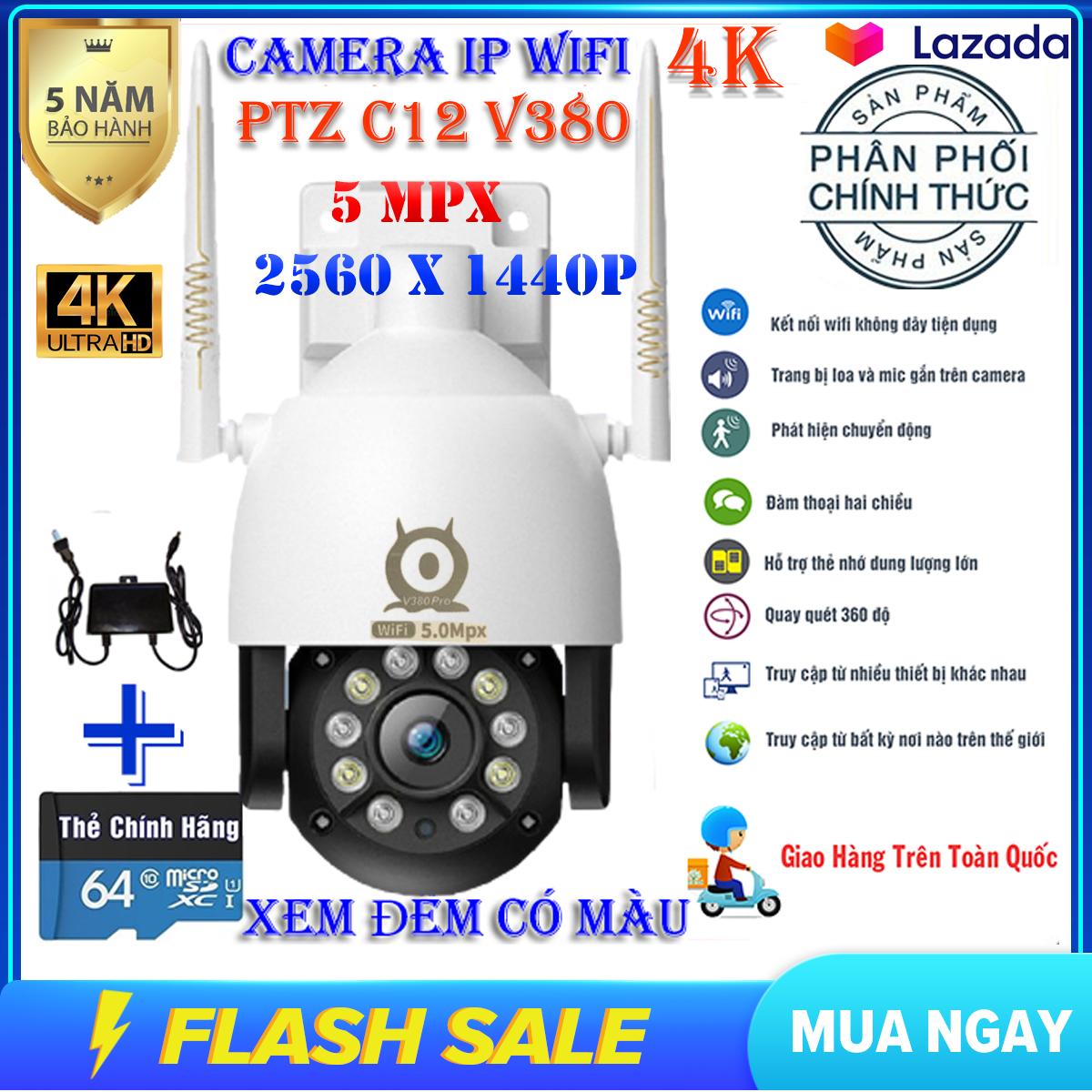 (Bảo Hành 5 năm,Kèm thẻ 64 GB chuyên dụng)Camera ip Wifi PTZ C12 V380 PRO SIÊU NÉT 5MPX 2560 X 1440P, Xem Đêm Có Màu,Xoay 360 độ,Camera trong nhà, ngoài trời, camera chống nước, chống ngược sáng
