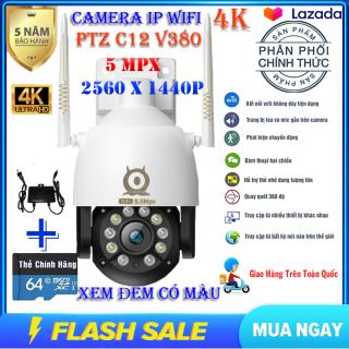 (Kèm thẻ nhớ CHUYÊN DỤNG 64 gb)Camera IP Wifi PTZ C12 V380 Pro 5MPX Xoay 360 độ,Camera ngoài trời-trong nhà chống nước, chống ngược sáng, quay phim 4k 10 Led nhận diện khuôn mặt thumbnail