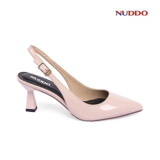 Giày Slingback cao gót nữ 7cm cao cấp Nuddo da bóng gót thời trang thumbnail