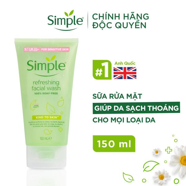 Sữa rửa mặt Simple giúp da sạch thoáng & không chứa xà phòng 150ml [CHÍNH HÃNG ĐỘC QUYỀN] cao cấp